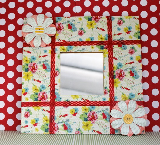 Adhesive Fabric Decorated Mirror #1